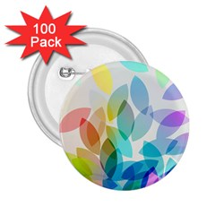 Leaf Rainbow Color 2.25  Buttons (100 pack)