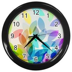 Leaf Rainbow Color Wall Clocks (Black)