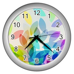 Leaf Rainbow Color Wall Clocks (Silver)