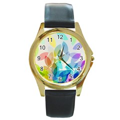 Leaf Rainbow Color Round Gold Metal Watch