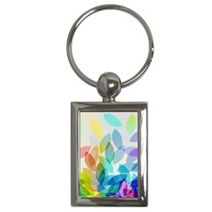 Leaf Rainbow Color Key Chains (Rectangle)