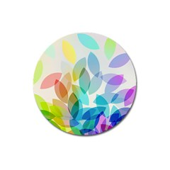 Leaf Rainbow Color Magnet 3  (Round)