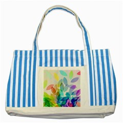 Leaf Rainbow Color Striped Blue Tote Bag
