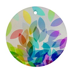 Leaf Rainbow Color Round Ornament (two Sides)