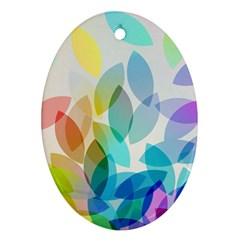 Leaf Rainbow Color Oval Ornament (Two Sides)