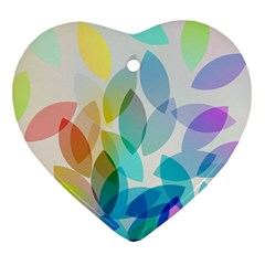 Leaf Rainbow Color Heart Ornament (Two Sides)