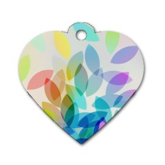 Leaf Rainbow Color Dog Tag Heart (Two Sides)