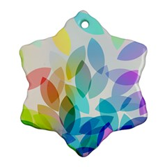 Leaf Rainbow Color Snowflake Ornament (Two Sides)