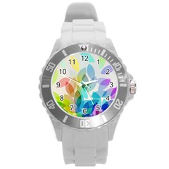 Leaf Rainbow Color Round Plastic Sport Watch (L)