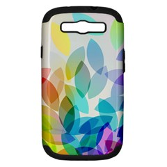 Leaf Rainbow Color Samsung Galaxy S III Hardshell Case (PC+Silicone)