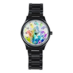 Leaf Rainbow Color Stainless Steel Round Watch