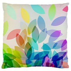 Leaf Rainbow Color Large Flano Cushion Case (Two Sides)