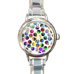 Ying Yang Seamless Color Cina Round Italian Charm Watch