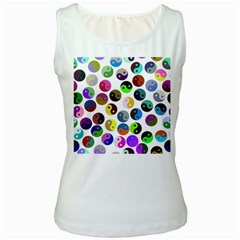 Ying Yang Seamless Color Cina Women s White Tank Top