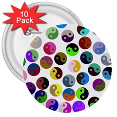 Ying Yang Seamless Color Cina 3  Buttons (10 pack)