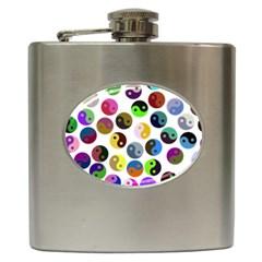 Ying Yang Seamless Color Cina Hip Flask (6 oz)