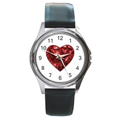 Floral Heart Shape Ornament Round Metal Watch