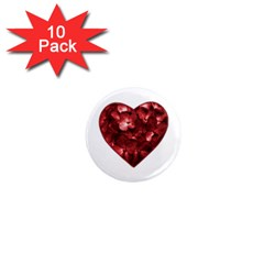 Floral Heart Shape Ornament 1  Mini Magnet (10 pack)