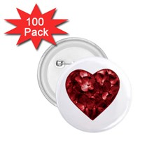 Floral Heart Shape Ornament 1.75  Buttons (100 pack)