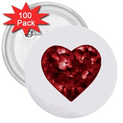 Floral Heart Shape Ornament 3  Buttons (100 pack)