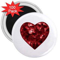 Floral Heart Shape Ornament 3  Magnets (100 pack)