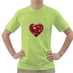 Floral Heart Shape Ornament Green T-Shirt