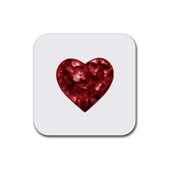 Floral Heart Shape Ornament Rubber Square Coaster (4 pack)