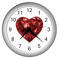Floral Heart Shape Ornament Wall Clocks (Silver)