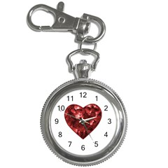 Floral Heart Shape Ornament Key Chain Watches