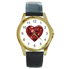 Floral Heart Shape Ornament Round Gold Metal Watch