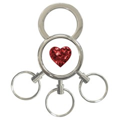 Floral Heart Shape Ornament 3-Ring Key Chains