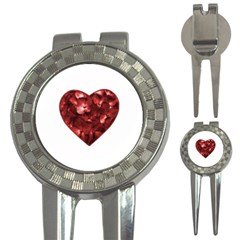 Floral Heart Shape Ornament 3-in-1 Golf Divots
