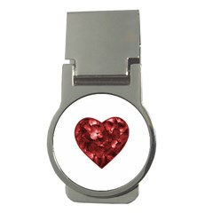 Floral Heart Shape Ornament Money Clips (Round)