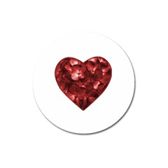 Floral Heart Shape Ornament Magnet 3  (Round)