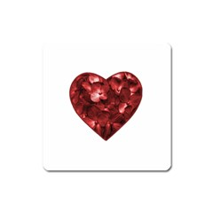 Floral Heart Shape Ornament Square Magnet