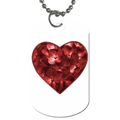 Floral Heart Shape Ornament Dog Tag (Two Sides)