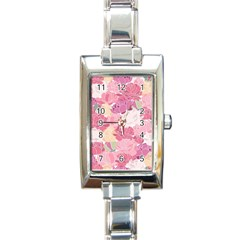 Peonies Flower Floral Roes Pink Flowering Rectangle Italian Charm Watch