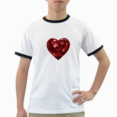Floral Heart Shape Ornament Ringer T-Shirts