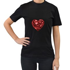 Floral Heart Shape Ornament Women s T-Shirt (Black) (Two Sided)