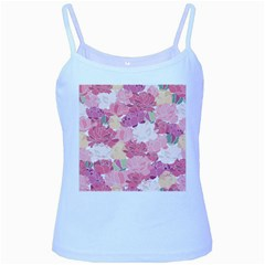 Peonies Flower Floral Roes Pink Flowering Baby Blue Spaghetti Tank