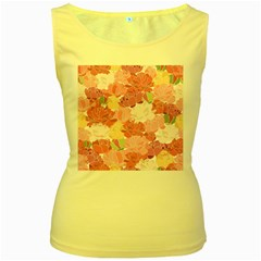 Peonies Flower Floral Roes Pink Flowering Women s Yellow Tank Top