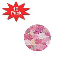 Peonies Flower Floral Roes Pink Flowering 1  Mini Buttons (10 pack)