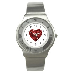 Floral Heart Shape Ornament Stainless Steel Watch