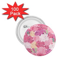 Peonies Flower Floral Roes Pink Flowering 1.75  Buttons (100 pack)