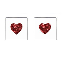 Floral Heart Shape Ornament Cufflinks (Square)