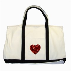 Floral Heart Shape Ornament Two Tone Tote Bag