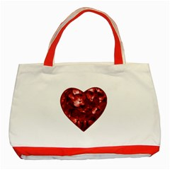 Floral Heart Shape Ornament Classic Tote Bag (Red)