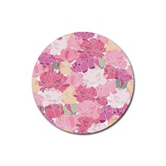 Peonies Flower Floral Roes Pink Flowering Rubber Coaster (Round)