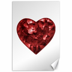 Floral Heart Shape Ornament Canvas 12  x 18