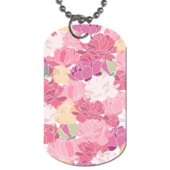Peonies Flower Floral Roes Pink Flowering Dog Tag (Two Sides)